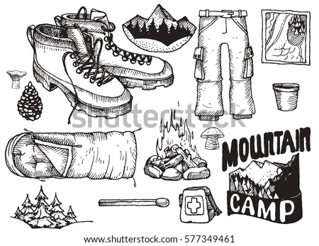 Vector Set Of Highly Detailed Hand Drawn Camping Stuff Vintage Signs Collectionillustration For