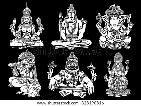vector set of hindu gods