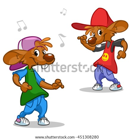 Vector set of hip-hop dancing mouses. Illustration of street dancer in fancy clothes