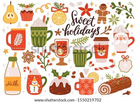 Vector set of holiday drinks. Cozy mugs and sweets: mulled wine, hot cocoa, milk, coffee, traditional Christmas cake, gingerbread cookies. Kids illustration. Scrapbook collection. Winter background.