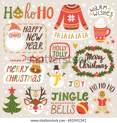 Vector set of holiday labels with hand written phrases about Christmas season and New Year. Winter collection with Santa Claus, reindeer, snowman.
