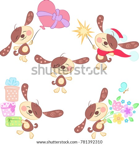 vector set of holiday puppies