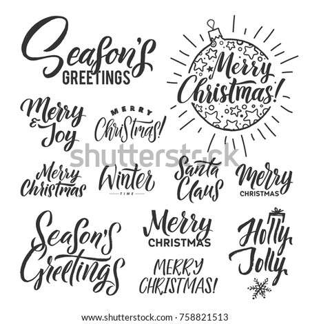 Vector set of holidays lettering. Merry Christmas text for invitation and greeting card, prints, posters. Hand drawn calligraphic design on white background