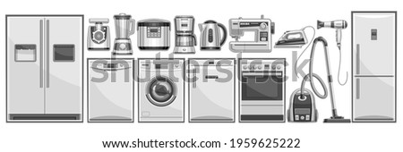 Vector set of Home Appliances, lot collection of cut out illustrations household and kitchen appliance for shop showroom display, many various black and white house hold appliances and grey gadgets.