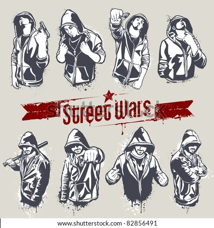 Vector set of hoody gangsters. Grungy style. All elements are groupped and layered.