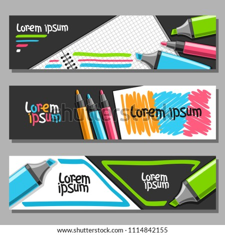 Vector set of horizontal Banners with colorful Markers, 3 layouts for website headers with blank checkered note book, set of vivid felt tip pens and highlight markers, design templates with copy space