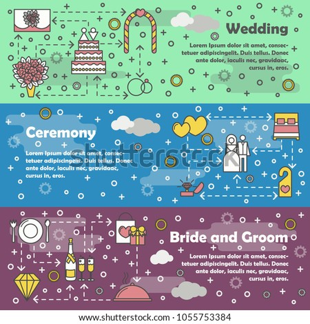 stock-vector-vector-set-of-horizontal-banners-with-wedding-ceremony-and-bride-and-groom-line-art-flat-style