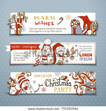 Stock Photo Vector set of horizontal Christmas banners with cute snowmen. Christmas tree, baubles and sock, gifts, candy canes, snowflakes and stars. Black, red, gold, grey and white colours. Copy space for text.