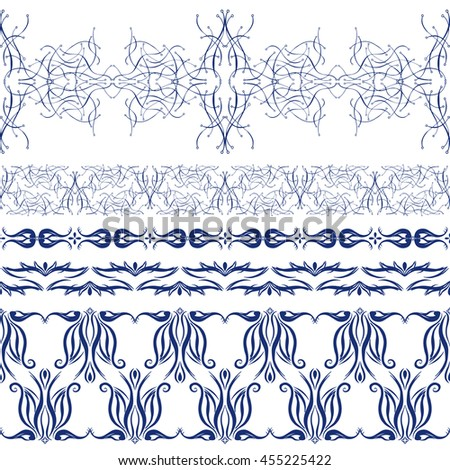 Vector set of horizontal seamless borders.Design created from vegetable, flower and curve linear elements.Decorative sticker or stencil for your home #455225422