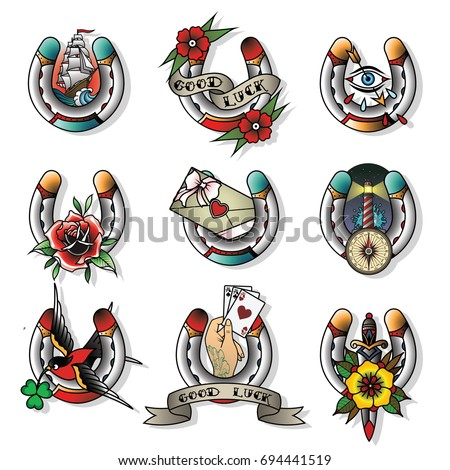 Vector Set of Horseshoes Traditional Tattoo Designs