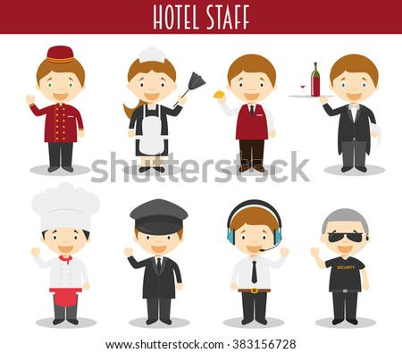 Vector Set Of Hotel Staff Professions In Cartoon Style