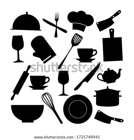 Vector set of household appliances such as plates, pans, teapots, knives, spoons, forks, and others.