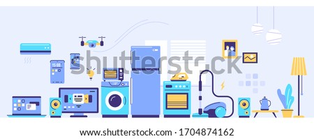 Vector set of household appliances with window and plant in pot. Sale of home domestic electronic appliances on light background. Flat style design for web, banner, advertising, e-mail newsletter
