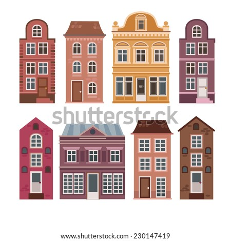 Vector Set Of Houses In The Dutch Style Different Color