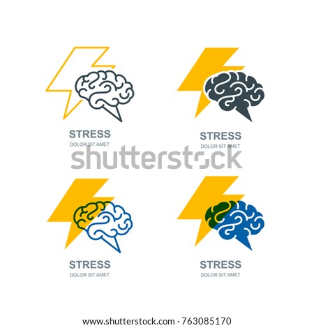 Vector set of human brain and lightning logo, sign, or emblem design. Stress, headache and nervous concept. Brainstorming and creativity isolated illustration.