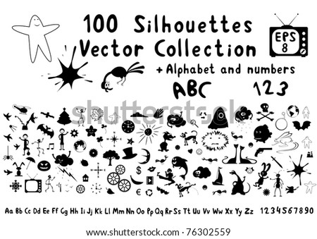 Vector set of hundred funny cartoon silhouettes. Plus alphabet and numbers
