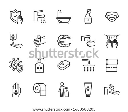 Vector set of hygiene line icons. Contains icons washing hands, antiseptic, soap, virus protection, bathroom, toothpaste and more. Pixel perfect.