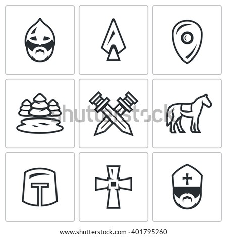 vector set of ice battle icons