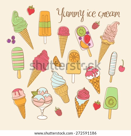 Vector set of ice cream. Ice cream set. Vector illustration