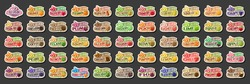 Vector set of Ice Cream labels, 54 cut out illustrations of variety fruit icecreams on black, group of various ice creams with fruits ingredients, many assorted ice cream logos with different text.