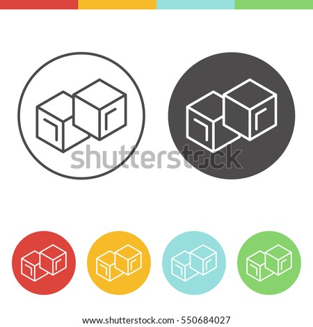 Vector set of ice cubes icons in thin line style
