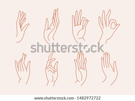 Vector set of icons and emblems in linear style - hands and gestures