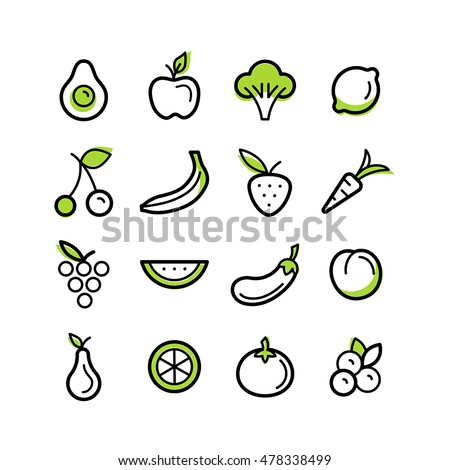 Vector set of icons and illustrations in trendy linear style - healty, organic and vegan food collection - fruits and vegetables on white background