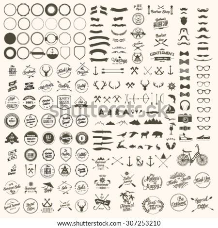 Vector set of icons and labels