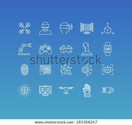 Vector set of 20 icons and sign in mono line style - concepts related to virtual and augmented reality and new technologies, innovative apps and gadgets