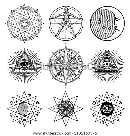 Vector set of icons and symbols on the theme of white magic, occult, alchemy, mystic, esoteric, religion, masons on white background. Can be used for tattoo or t-shirt design
