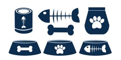 Vector set of icons for pet shop. Bowl, food for cats and dogs isolated on white background for postcard, logo, business card