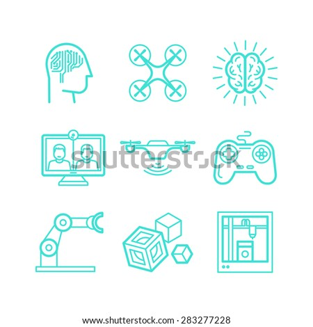 Vector set of icons in trendy linear style - innovation and new technologies - artificial intelligence, smart devices and remote control