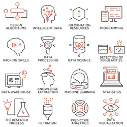 Vector set of 16 icons related to business and data management, analytic service and data science. Mono line pictograms and infographics design elements - part 2