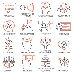 Vector set of 16 icons related to business management, strategy, career progress and business process. Mono line pictograms and infographics design elements - part 24