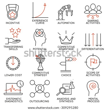 Vector set of 16 icons related to business management, strategy, career progress and business process. Mono line pictograms and infographics design elements - part 4