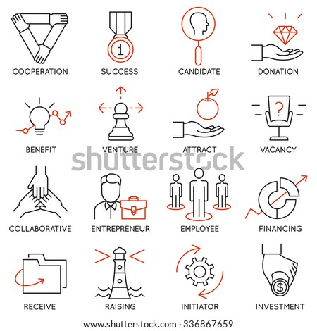 Vector set of 16 icons related to business management, strategy, career progress and business process. Mono line pictograms and infographics design elements - part 30