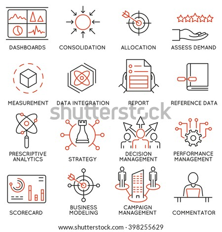 Vector set of 16 icons related to business management, strategy, career progress and business process. Mono line pictograms and infographics design elements - part 47