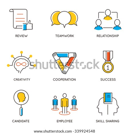 Vector set of icons related to career progress and business management. Infographics design elements - part 8