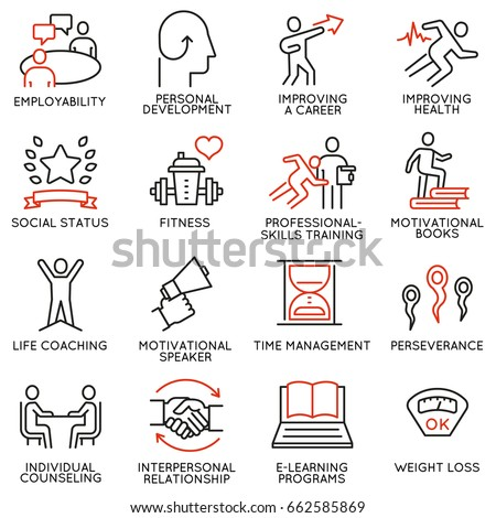 Vector set of 16 icons related to career progress, workshop, professional consulting service, training and development. Mono line pictograms and infographics design elements - part 3
