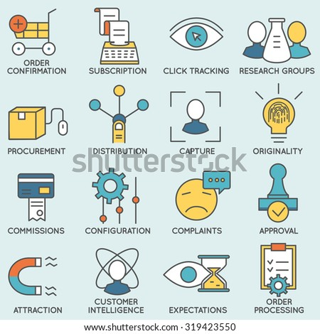 Vector set of icons related to customer relationship management. Flat line pictograms and infographics design elements - part 8