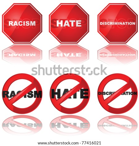 Vector set of icons showing a stop sign and a forbidden sign combined with the words 'racism,' 'hate,' and 'discrimination'