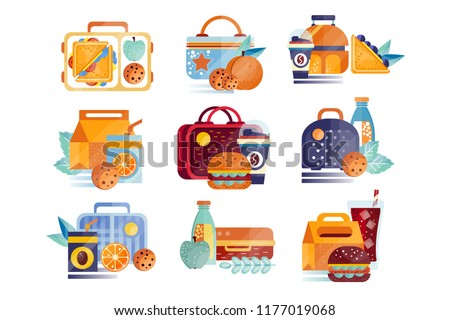 Vector set of icons with lunch boxes and bags with food and drinks. Hamburgers, sandwiches, cookies, juice, coffee, fruits. Lunchtime or breakfast concept. Flat design