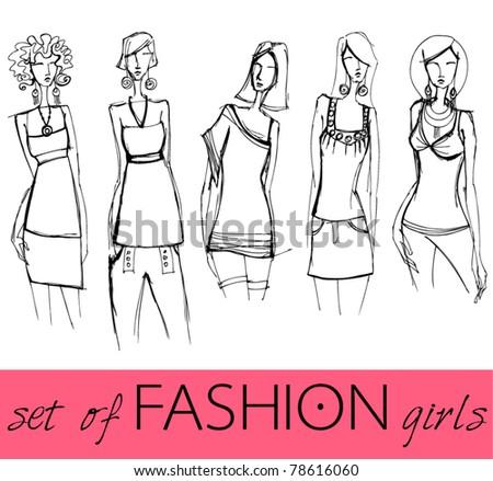 vector set of illustrated elegant stylized fashion models