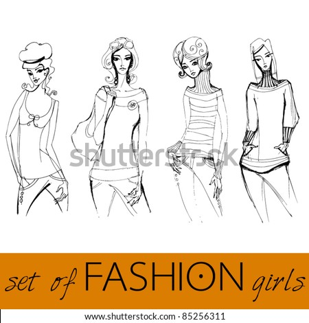 vector set of illustrated elegant stylized fashion models