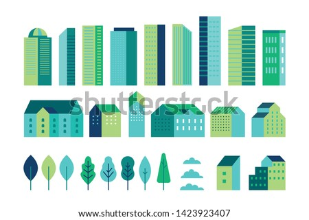 Vector set of illustration in simple minimal geometric flat style - city landscape elements - buildings and trees - city constructor for background for header images for websites, banners, covers