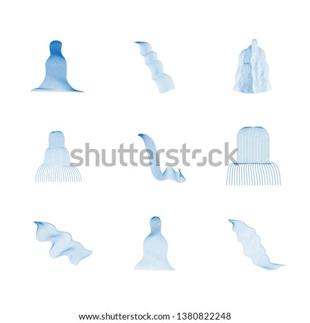 Vector set of illustration of waterfall cascade. Water stream falling of various shape of mountain rock. Isolated outline hand drawn object. Logo, design element.