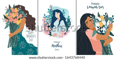 Vector set of illustrations for Women's Day on a white background. Cute flat cartoon template for cards and posters