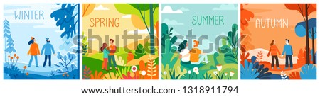 Vector set of illustrations in flat simple style - season banners for calendar - winter, spring, summer, autumn - landscapes with happy man and woman and hand-lettering