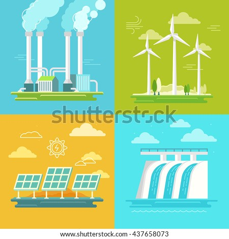 Vector set of illustrations in simple flat style - alternative and renewable energy - wind-powered electrical generators, hydroelectric station, geothermal power station ans solar panels