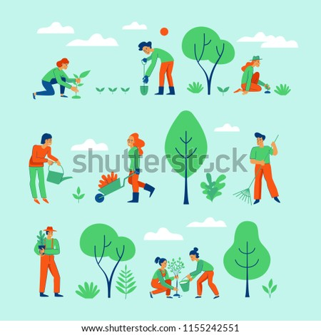 Vector set of illustrations in trendy flat linear style for infographic - gardening concept - people and characters working in the garden, farm or field - planting and watering trees